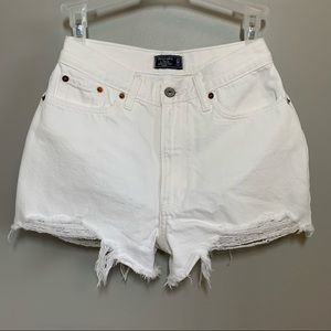 ABERCROMBIE & FITCH White High Waisted Shorts
